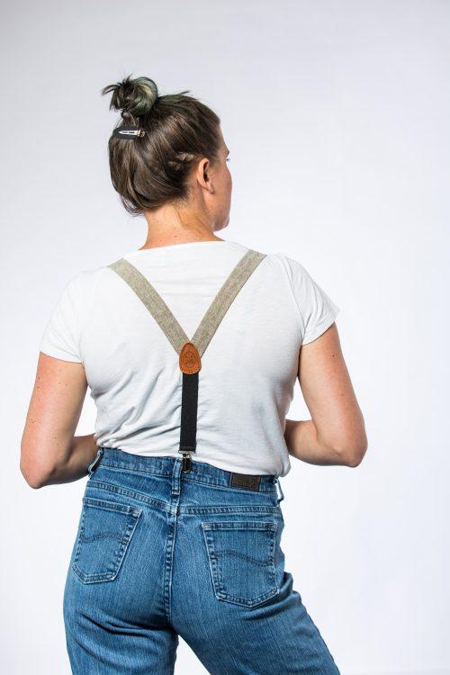 """Olive Linen 1"""" Clip-On Women's Suspenders"""