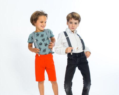 Gray Chambray Dots Kids' Suspenders Gray Chambray Dots