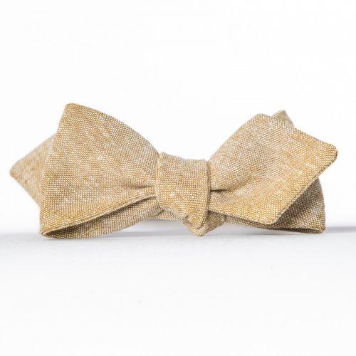 Tan Linen Arrow Bow Tie