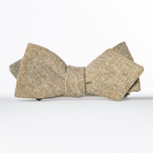 Olive Linen Arrow Bow Tie