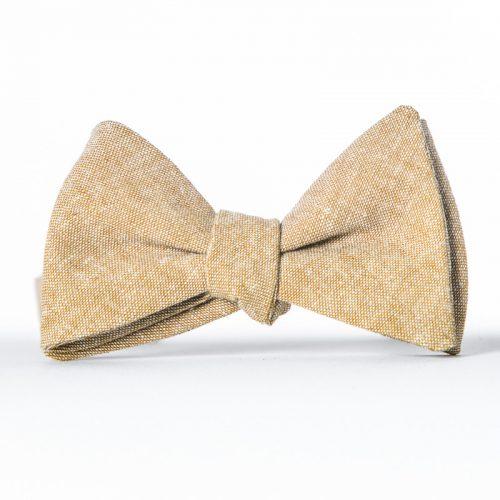 Tan Linen Butterfly Bow Tie