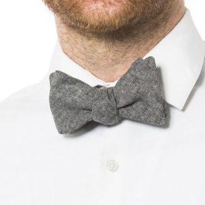 Black Linen Pre-Tied Bow Tie