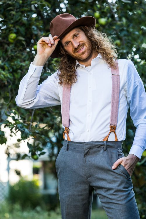 """Pink Linen 1.5"""" Button-On Suspenders"""