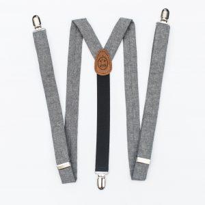 """Gray Linen 1"""" Clip-On Women's Suspenders"""