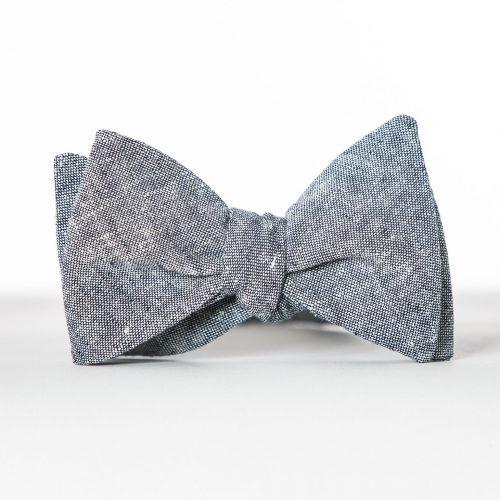 Indigo Linen Pre-Tied Bow Tie