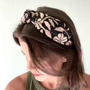 Black and White Leaf Headband