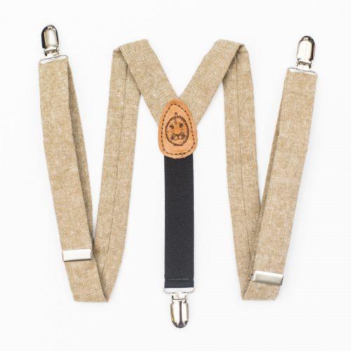 Tan Linen Kids' Suspenders