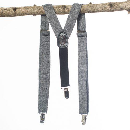 Black Linen Kids Suspenders