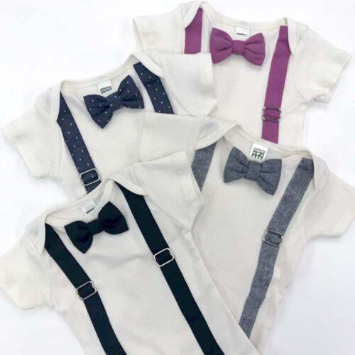 Bow Tie & Suspender baby Onesie