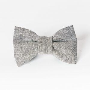 Gray Linen Dog Bow