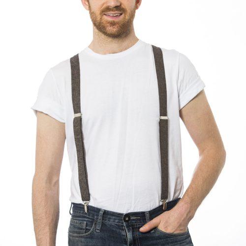 "Espresso Linen 1"" Clip-On Suspenders"
