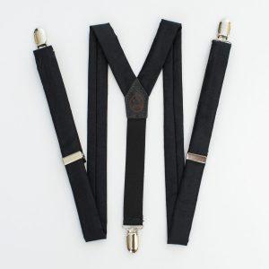 """Black Sateen 1"""" Clip-On Women's Suspenders"""