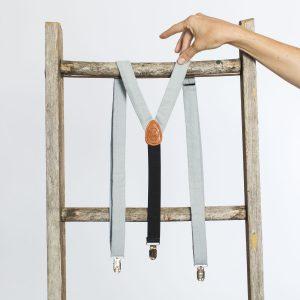 """Dusty Blue Linen 1"""" Clip-On Women's Suspenders"""