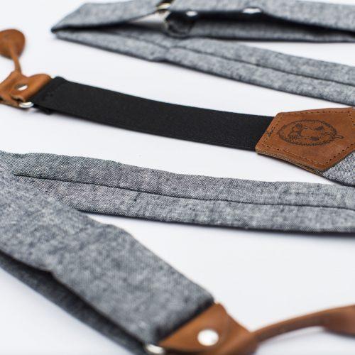 """Indigo Linen 1.5"""" Button-On Suspenders"""