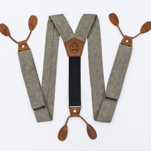 """Olive Linen 1.5"""" Button-On Suspenders"""